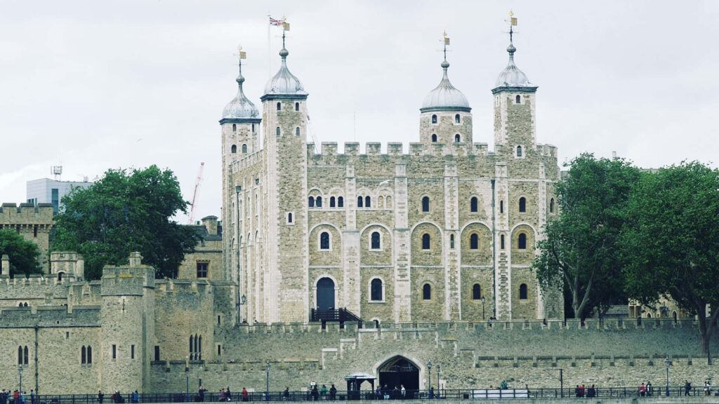 View of the Tower of London from outside the walls