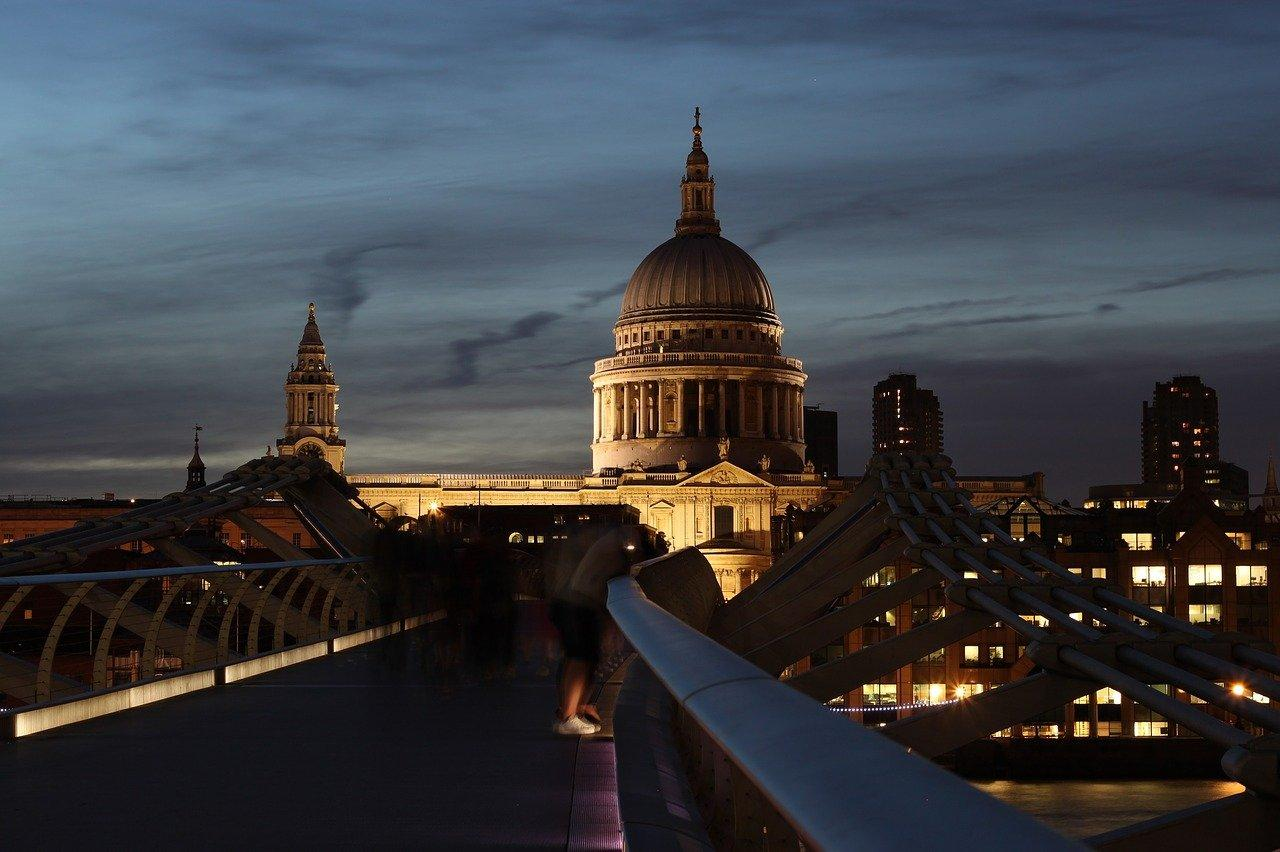 View of St Paul's Cathedral in London at night