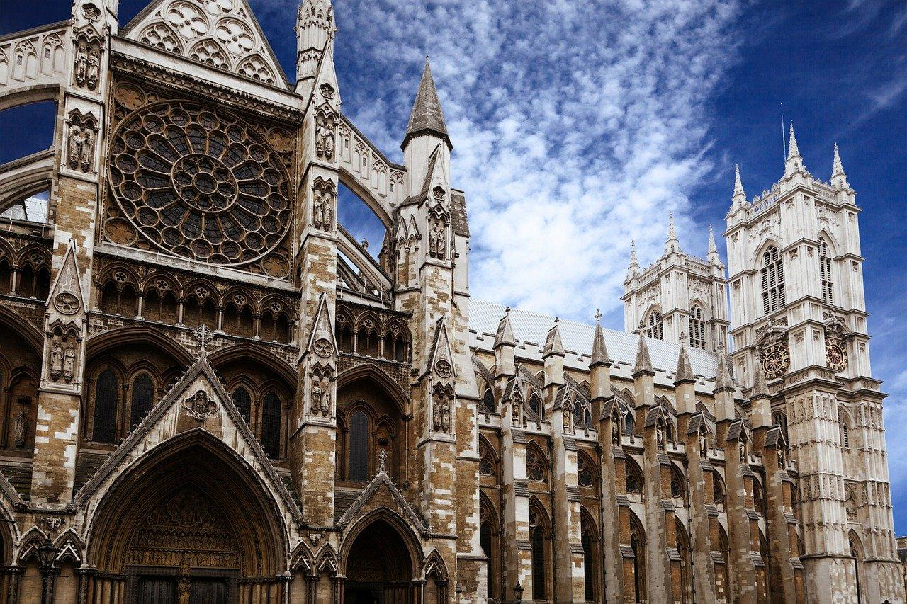 Close-up view of Westminster Abbey in London