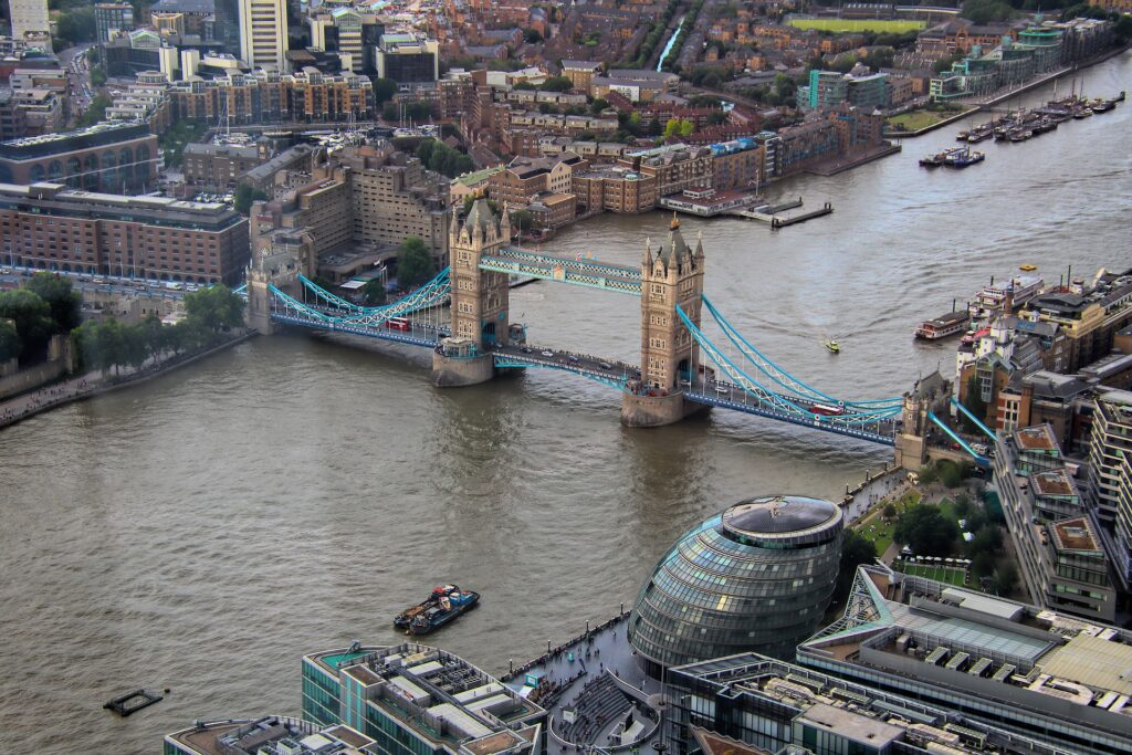 Photo of the shard and tower bridge over the river Thames in London cityscape