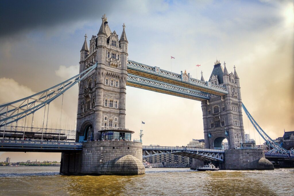View of Tower Bridge from the banks of the River Thames