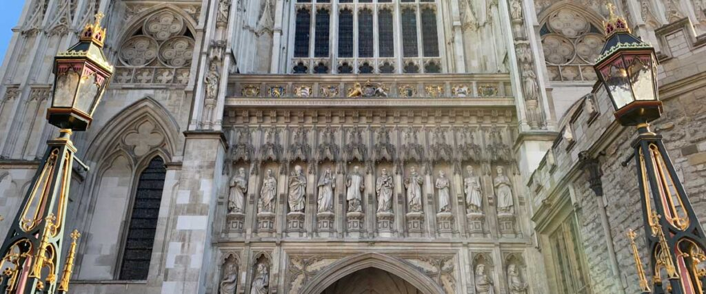 Westminster Abbey west front showing modern martyrs