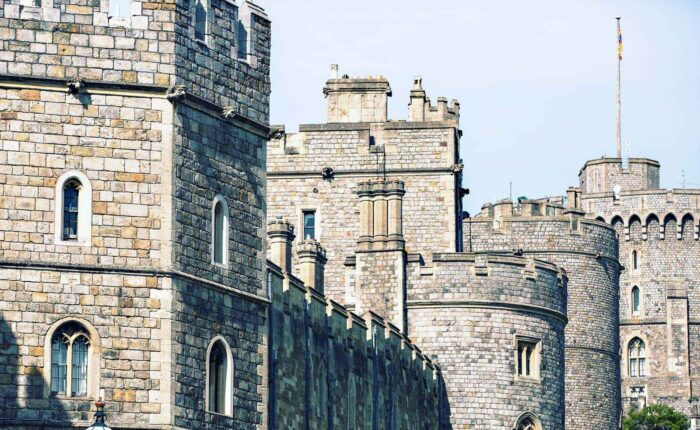 Windsor Castle Tour, Castle ramparts and towers against a blue skyline