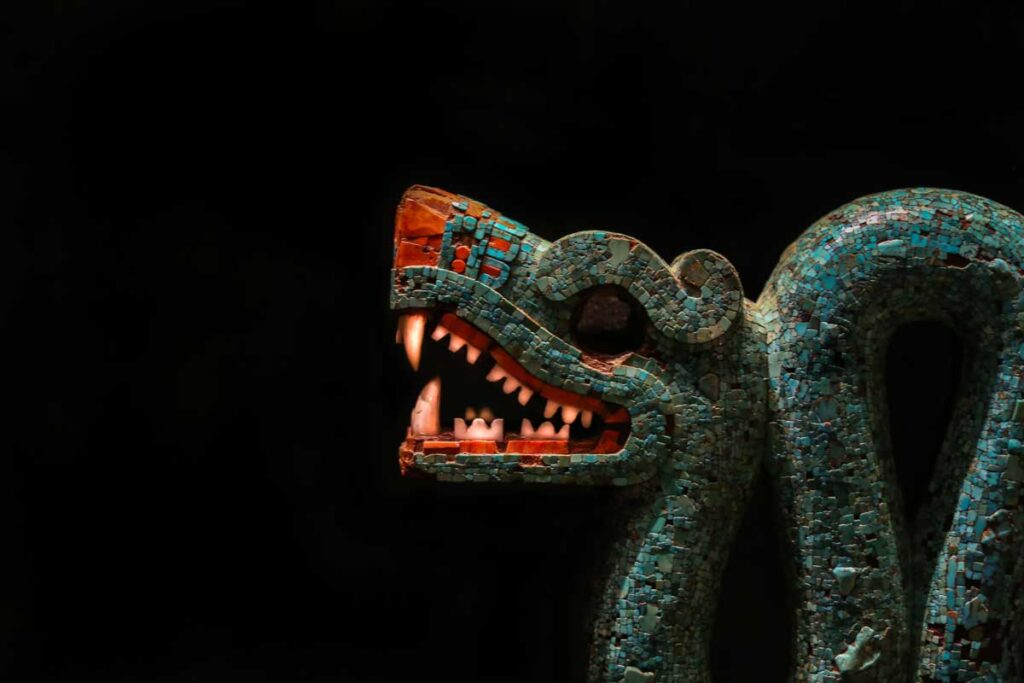 Colourful Aztec serpent in the Aztec gallery at the British Museum