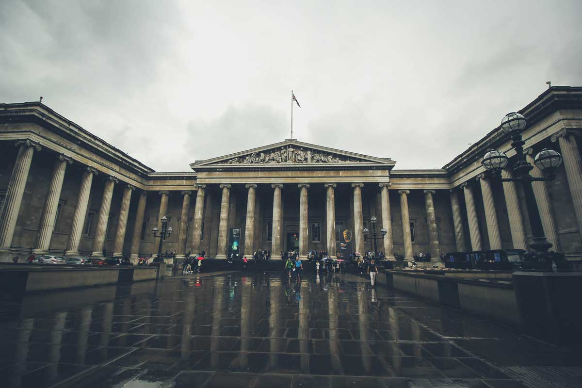 Great Russel street Entrance to the British Museum with classical pillars and pediment