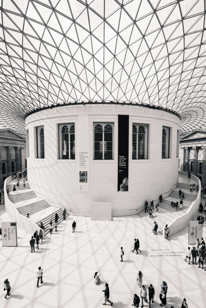 Great court of the British Museum with panelled glass roof creating large atrium
