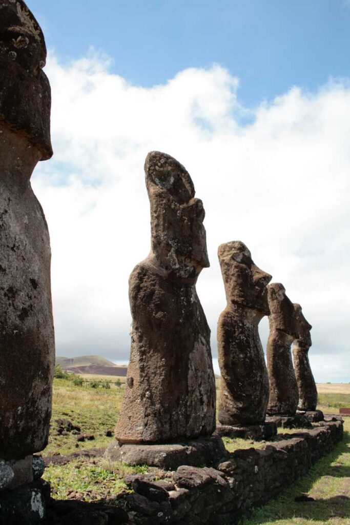 Easter Island heads in their original setting on Easter island