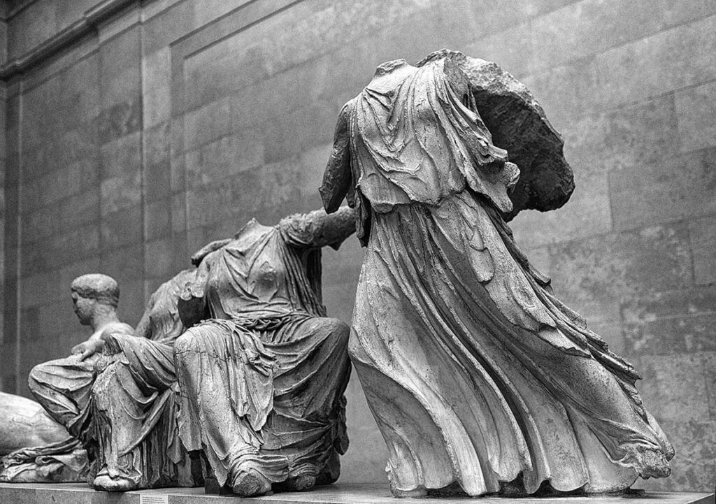 section of Elgin marbles pediment statues at the British Museum