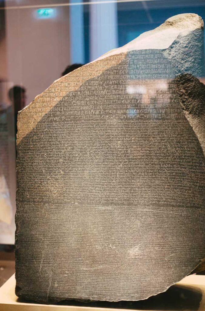 piece of the original rosetta stone at the British Museum