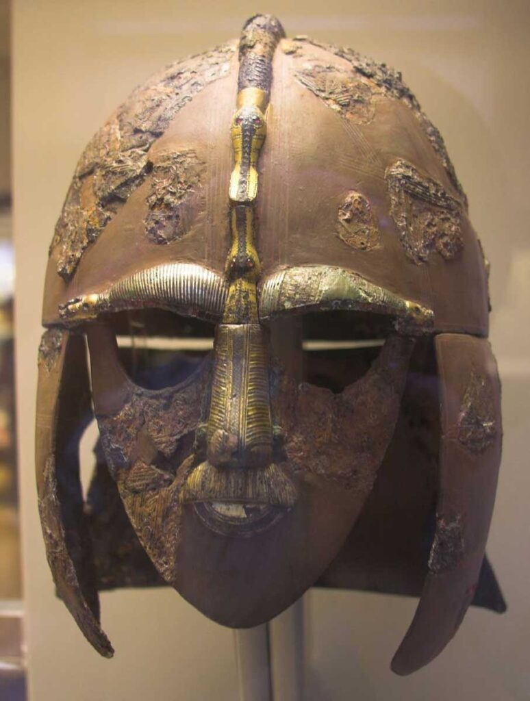 Early Anglo Saxon helmet uncovered as part of the Sutton Hoo treasure at the British Museum